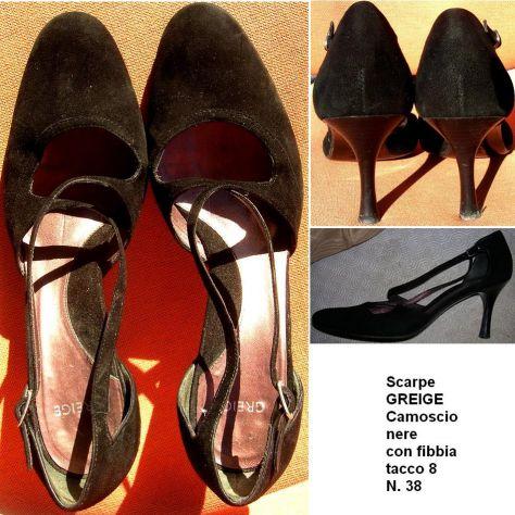 Scarpe Donna Greige decollettes nere camoscio 38 tacco 8 con fibbia