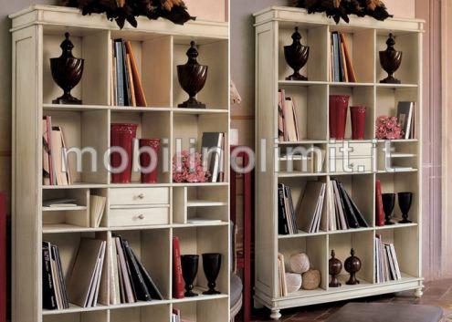 Libreria a giorno laccata bianca anticata - Nuovo
