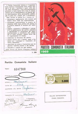 TESSERA PARTITO COMUNISTA ITALIANO PCI 1969