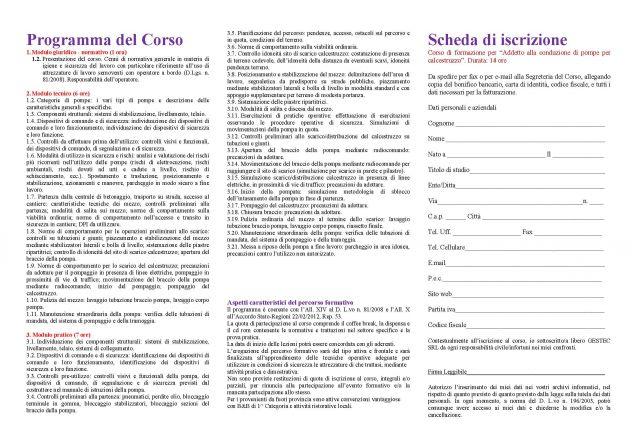 """Corso di formazione """"Addetto alla conduzione di pompe per calcestruzzo - Foto 2"""