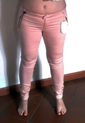 Pantalone pantaloni Donna woman jeans bershka dinim elasticizzati rosa slim fit