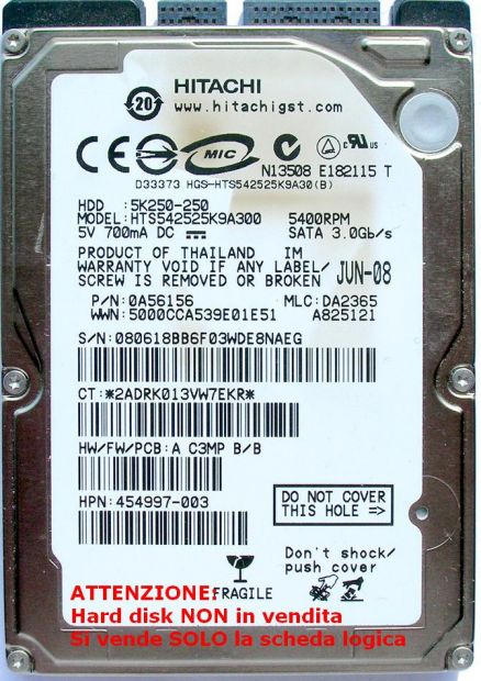PCB Hitachi 250 GB Sata HTS542525K9A300 Scheda logica Hard disk Dati sulla  … - Foto 3