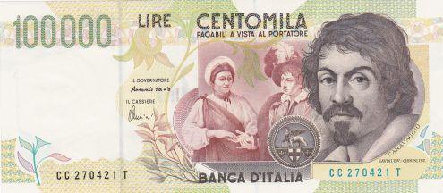 Banconota lire 100.000 II^ serie Caravaggio - Fds- serie CC 270421 T