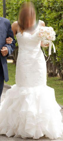 Abito Vestito sposa Cerimonia sirena tubino XS S strass tessuto Chiffon PERFETTO