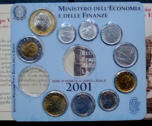 ITALIA REPUBBLICA SERIE 10 VALORI 2001 SIGILLATE FDC CONFEZIONE ZECCA NO ARGENTO