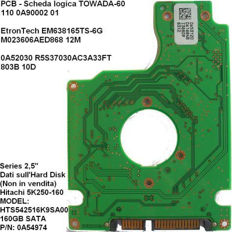 PCB Hard disk Hitachi 5K250-160 GB sata 2,5''  Dati Scheda logica (in - Foto 2