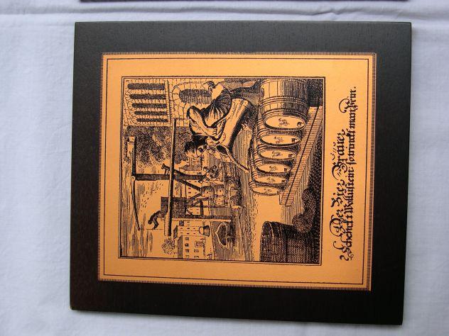 Antico quadro con incisione in rame Der Bierbrauer - birraio