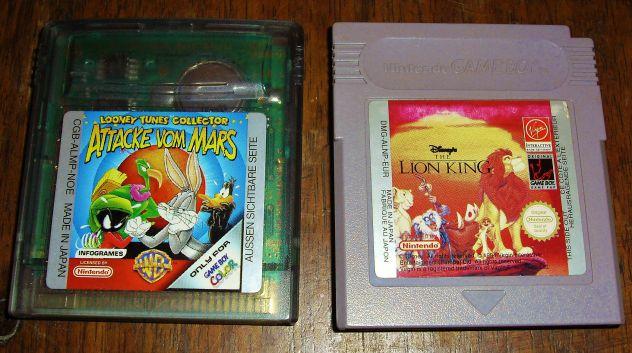 SET 2 GIOCHI THE LION KING + LOONEY TUNES Attacke von Mars GAME BOY GAMEBOY gbc