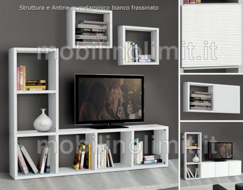 Porta Tv Bianco Frassinato (175) - Nuovo