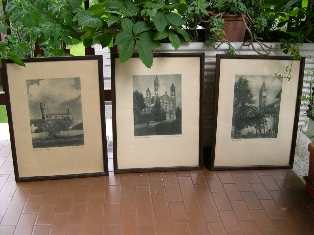 Quadri con stampe antiche, 3 stampe antiche castelli quadro