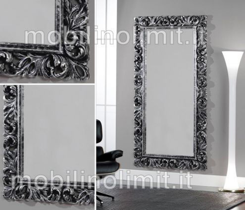Specchiera argento e nero invecchiato - Nuovo