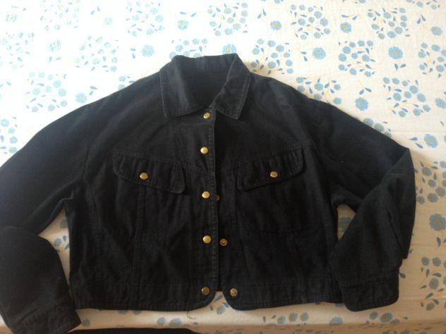 Giubbotto in jeans corto in vita nero