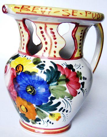 Brocca in ceramica dipinta a mano-Castelli-Umbria-Lab. Ceramica DDS-ca1970-
