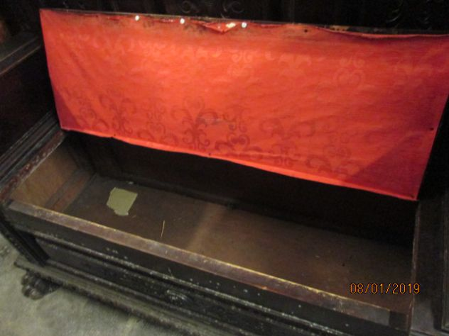 Baule stile impero a panca con schienale intarsiato piedi a zampa di leone - Foto 3