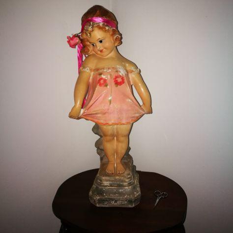 STATUA BAMBOLA dolly in gesso fine 800 vintage, mai restaurata