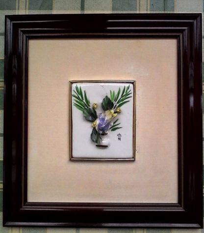 Quadri in ceramica con fiori in rilievo - Annunci Bari