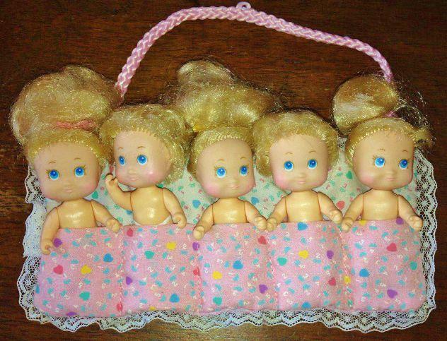 Lotto set 5 bambole Quints Tiny Baby Dolls 1989 Vintage TYCO da collezione rare