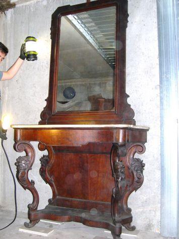 Antica consolle con specchiera Luigi Filippo in legno noce e marmo