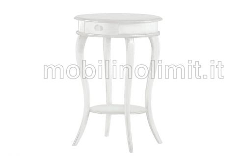 Tavolino Portatelefono Tondo - Bianco Opaco - Nuovo