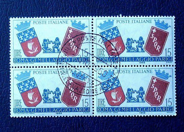 1959 QUARTINA DA LIRE 15 GEMELLAGGIO ROMA PARIGI TIMBRATO - NUMANTO -