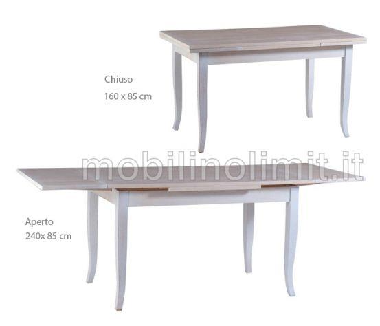 Tavolo Allungabile (160X85) - Shabby Chic - Nuovo