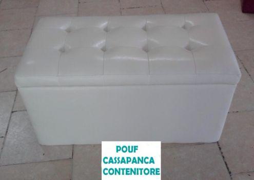 Panca Contenitore Ecopelle : Panca imbottita moderna con contenitore in metallo cromato e