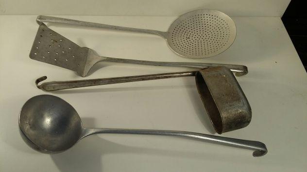 A222 alluminio vecchio mestolo stufa mestolo paletta schiumarola