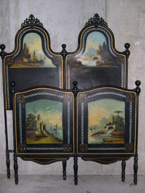 Letto antico in ferro dell '800 con dipinti e inserti in madreperla