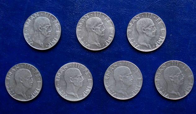 MONETE REGNO 50 CENTESIMI IMPERO 7 MONETE