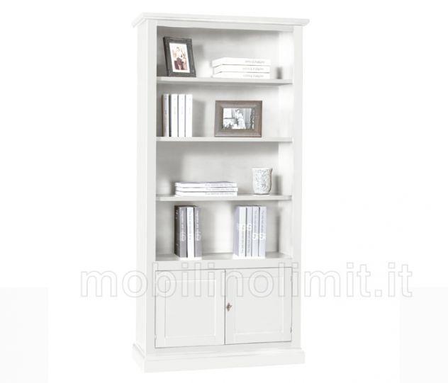 Libreria con 2 ante in arte povera bianca - Nuovo