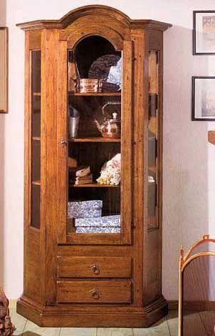 Vetrinetta 1 porta 3 ripiani 2 cassetti arte povera cod 11406