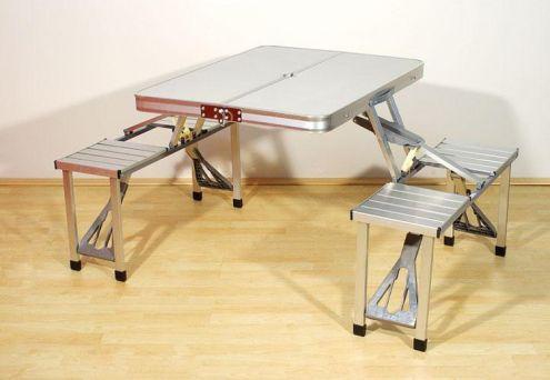 Tavolo e sgabelli in alluminio nuovo per campeggio pic nic