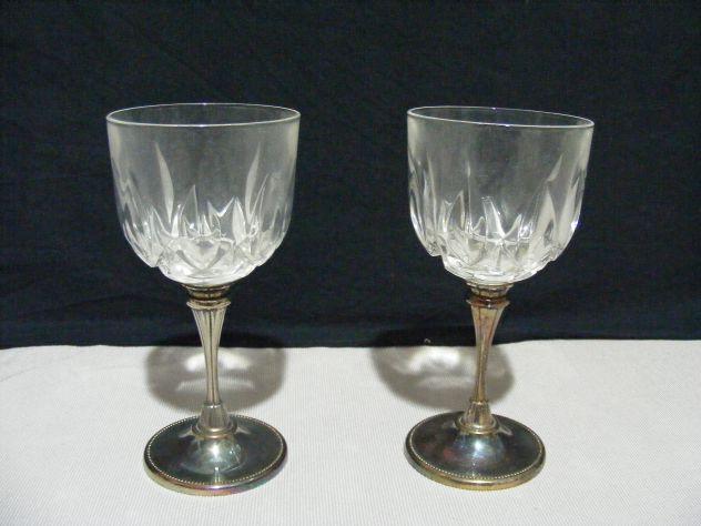 Coppia di bicchieri in cristallo e argento