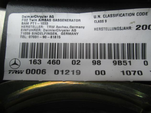 KIT AIRBAG COMPLETO MERCEDES W163 ML400 AMG 4.0 D 4X4 184KW 5P AUT (2001) R … - Foto 3