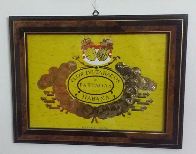 Quadro Flor de tabacos de Partagás Habana cornice in legno di radica bicolore
