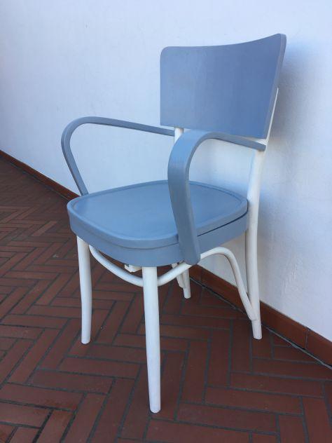 sedia - poltrona (comoda) degli anni 40 vintage shabby bianco grigio - Foto 3
