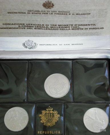 Monete argento san marino virgilio 1981 in astuccio