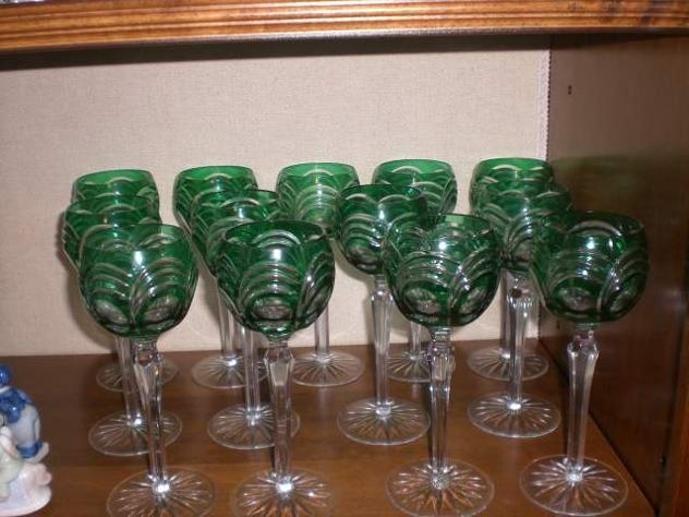 12 bicchieri cristallo Boemia lenticolari